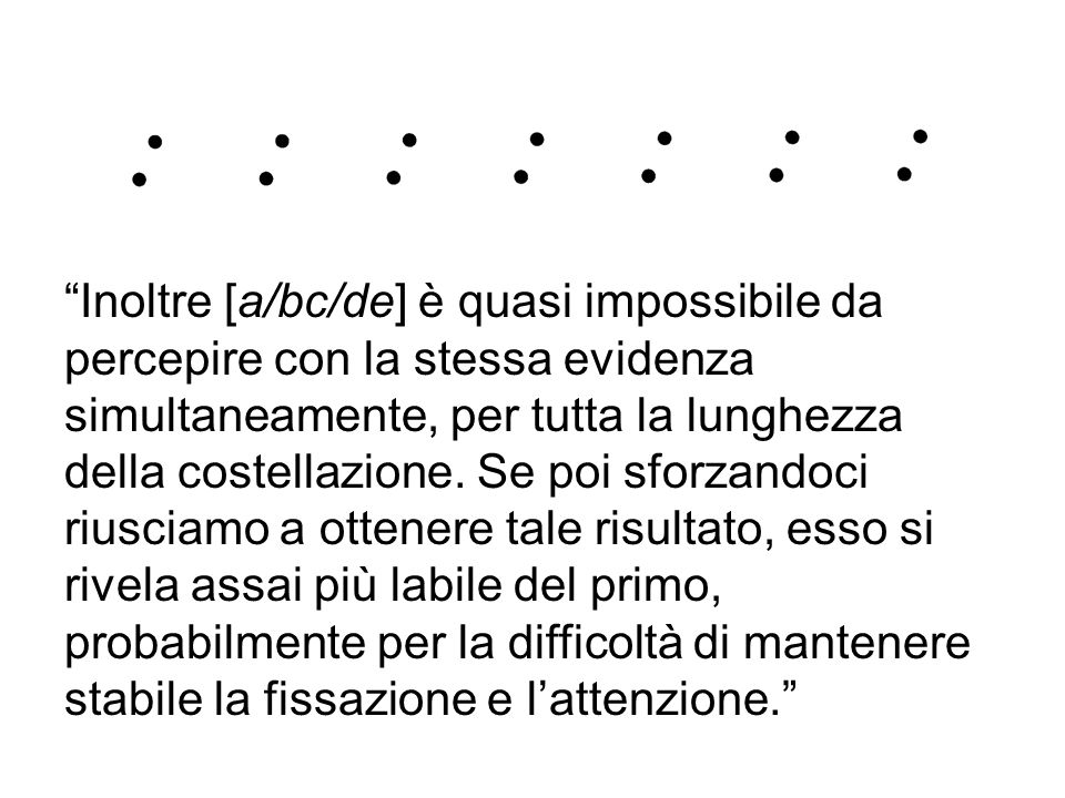 Inoltre [a/bc/de] è quasi impossibile da percepire con la stessa evidenza simultaneamente, per tutta la lunghezza della costellazione.